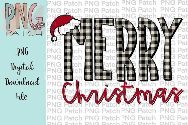 Buffalo Plaid Merry Christmas Sublimation Design example image 1