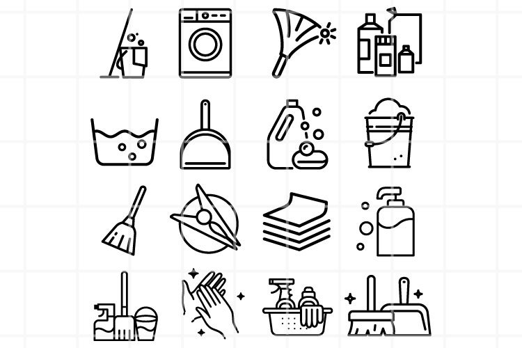 Cleaning icons set. Purity icons. Cleaning vector symbol. example image 1