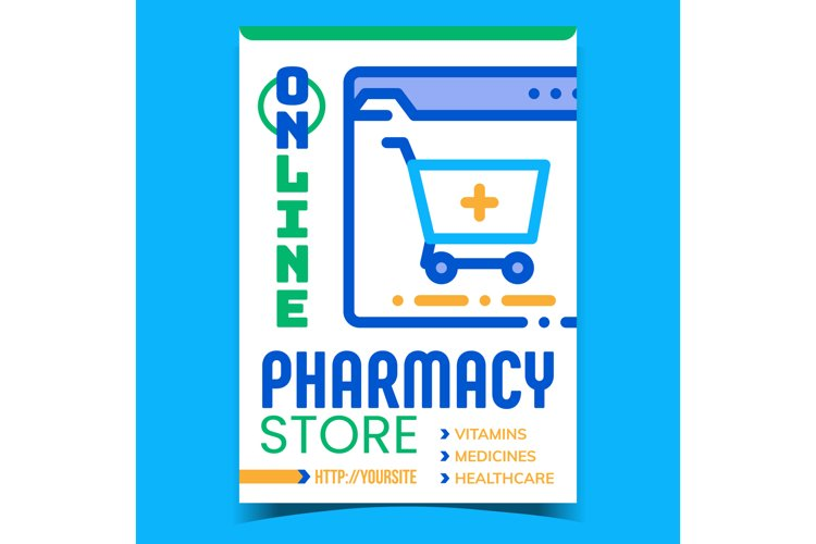 Online Pharmacy Store Advertising Poster Vector example image 1
