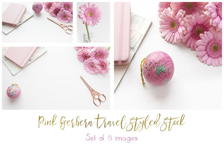 Pink Gerberas and globe travel styled stock destop photography example image 1