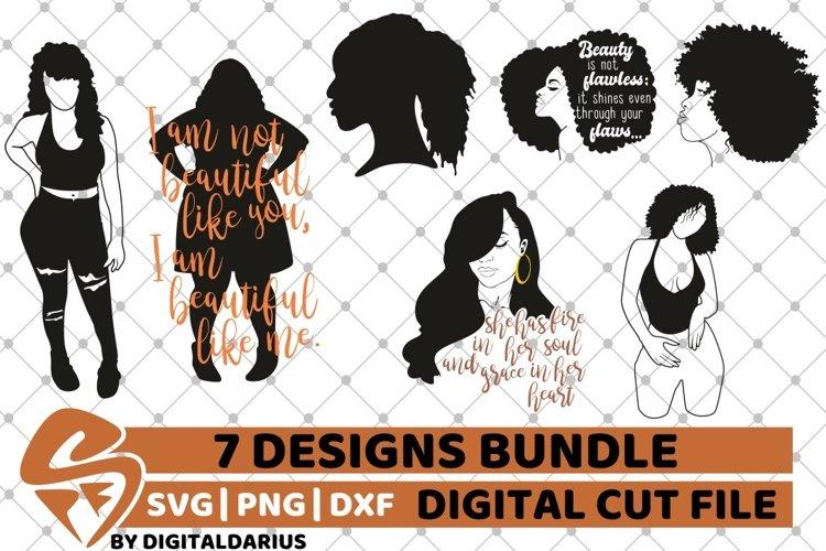 7x Black Woman Bundle SVG, Afro Girl svg, Chubby Diva SVG