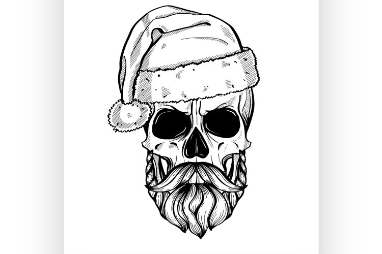 Hand drawn angry skull of Santa Claus example image 1
