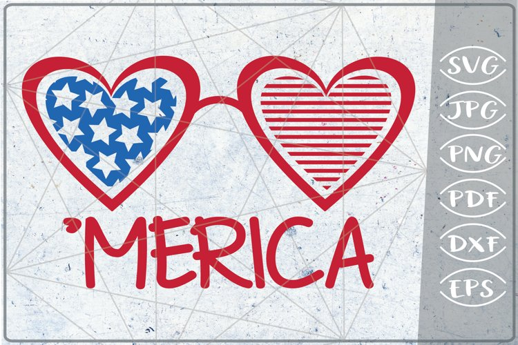 'Merica Heart SVG 4th of July Independence Day Crafters example image 1