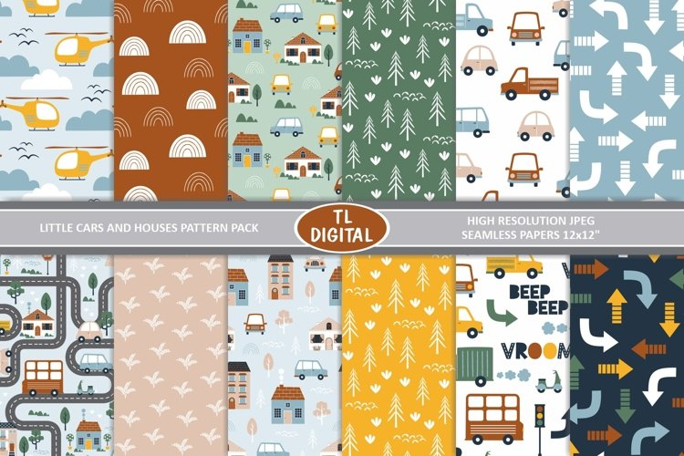 Cars and Houses Patterns / Digital Papers - JPEG - 12x12inch example image 1
