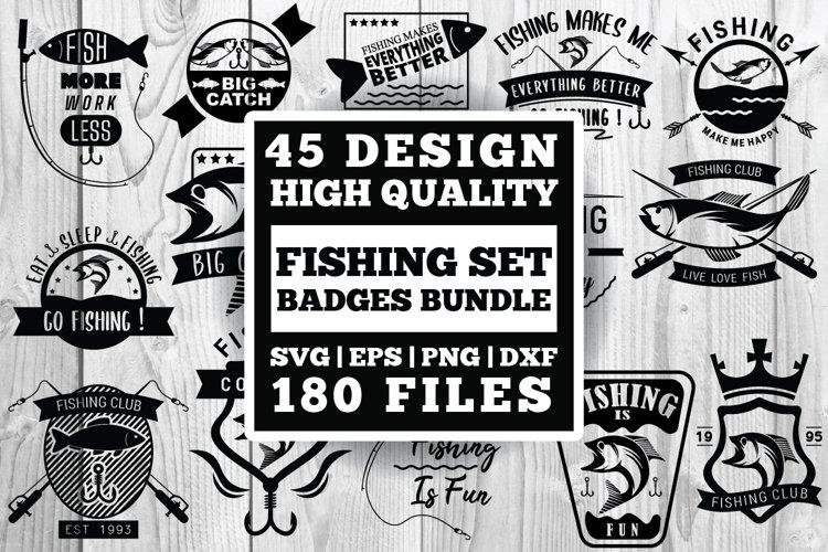 Fishing badges SVG set bundle , Vector Eps Dxf Png