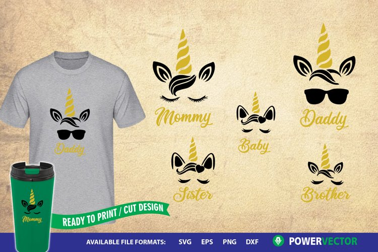 Unicorn Family|Daddy, Mommy, Sister, Brother SVG Cut Files example image 1