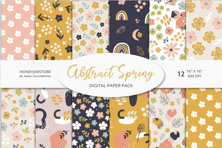 Abstract Spring digital paper pack, spring seamless pattern