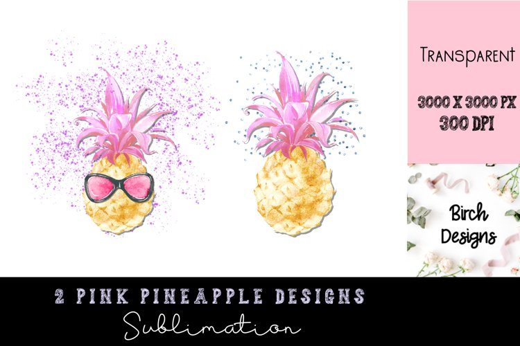 Pink Pineapple Sublimation Designs PNG