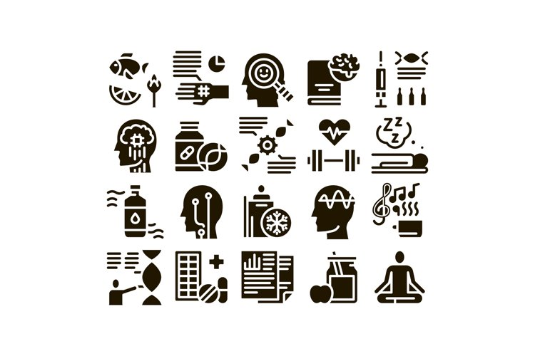 Biohacking Collection Elements Icons Set Vector example image 1