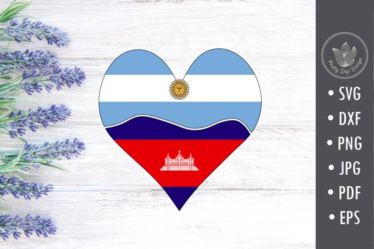 Argentina Cambodia heart with flags, Sublimation