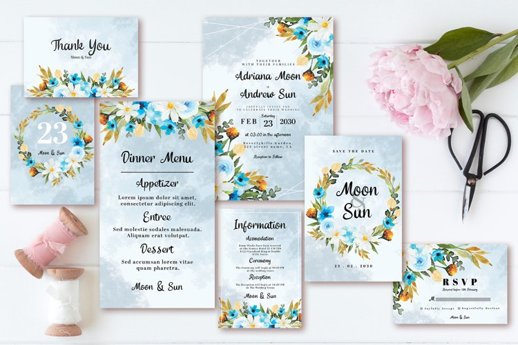 Abstract Blue White Rustic Floral Wedding Invitation Set example image 1