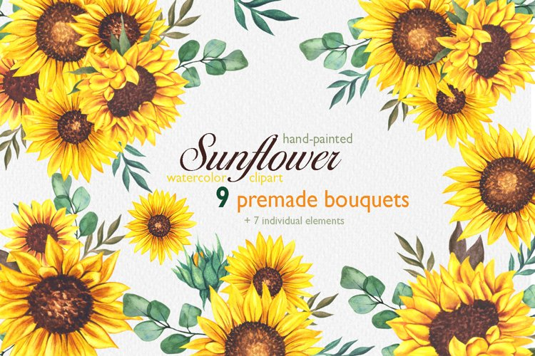 Watercolor Sunflower Bouquets PNG, Summer Bouquets PNG