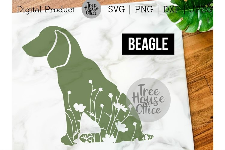 Beagle Floral SVG, Cute Beagle Dog Clipart with Flowers JPEG example image 1