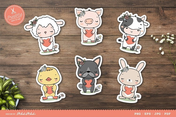 Farm Animals Characters Printable Stickers Cricut Design