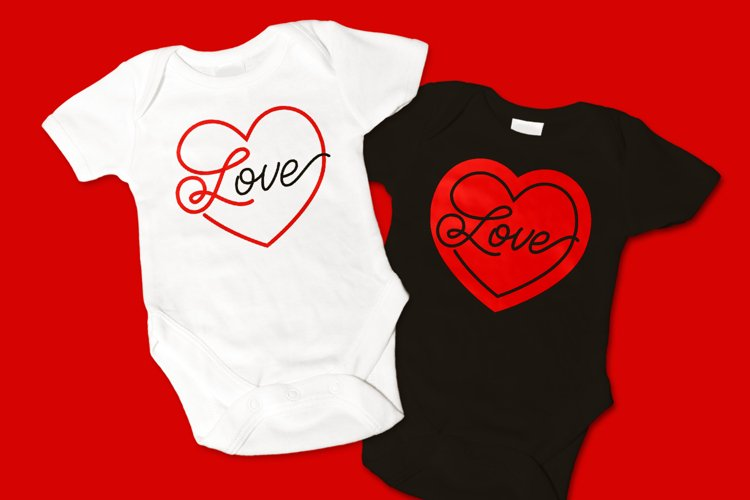 Love Script Heart SVG File