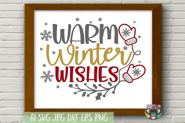 Merry Christmas svg, Warm Winter Wishes svg, Cricut Cut File example image 1