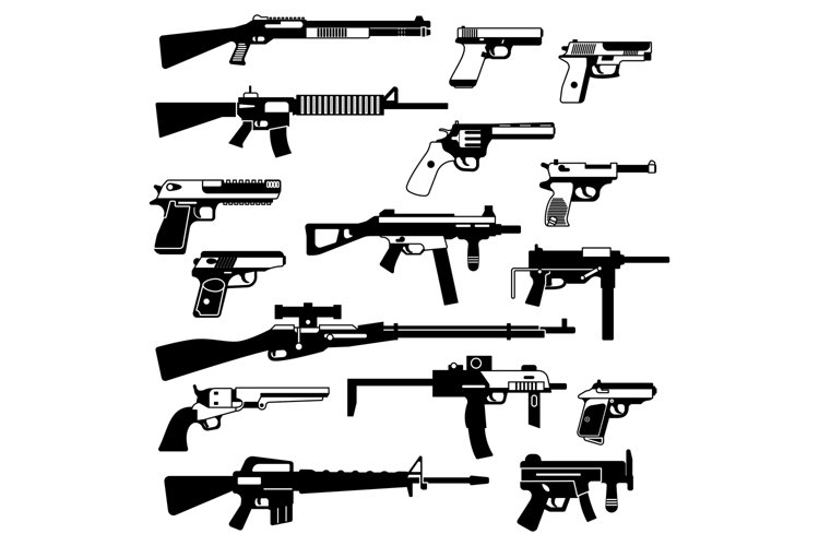 Military set of automatic guns, pistols and other weapons. M example image 1
