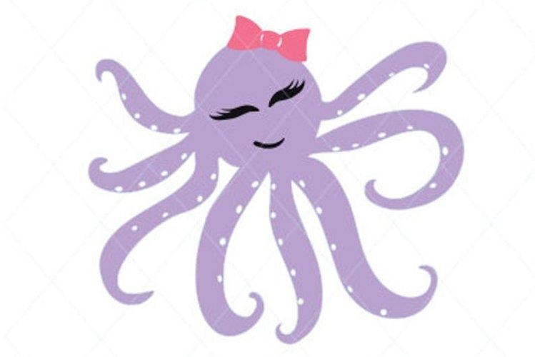 Purple Octopus Digital File Clipart Instant Download SVG DFX example image 1