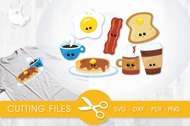 Cutesy Breakfast Food cutting files svg, dxf, pdf, eps included - cut files for cricut and silhouette - Cutting Files SVG example image 1
