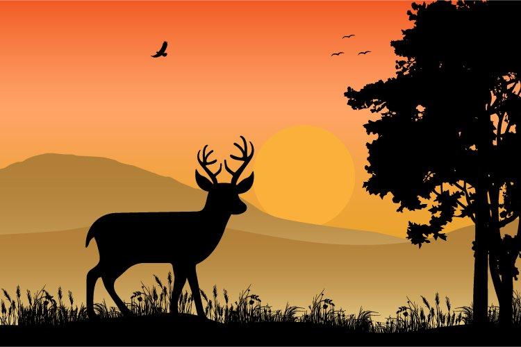 deer silhouette, simple vector illustration design example image 1