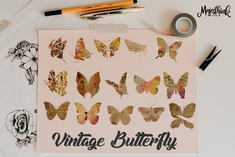 Vintage Butterfly Clip Art - with Old Paper Postcard Texture Distressed Grunge Brown Color example image 1
