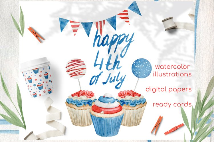 Watercolor 4th of july cupcakes clipart set example image 1
