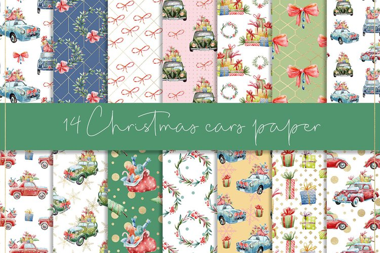 Christmas cars digital paper, seamless pattern example image 1