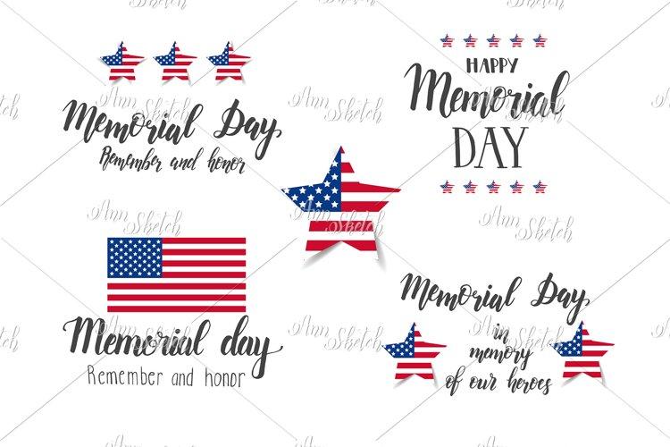 Memorial Day lettering Set