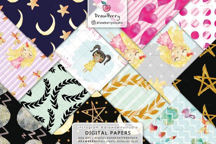 Baby Girl Digital Paper Good Night
