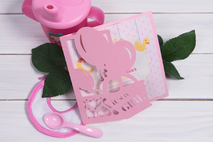 Baby Shower Invitation, Its a Girl cutting file example image 1