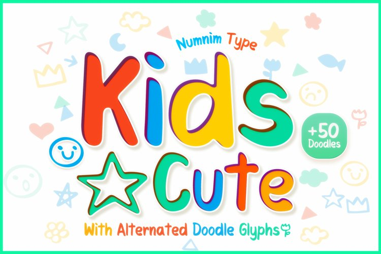 Kids Cute- Child font with doodle glyphs example image 1