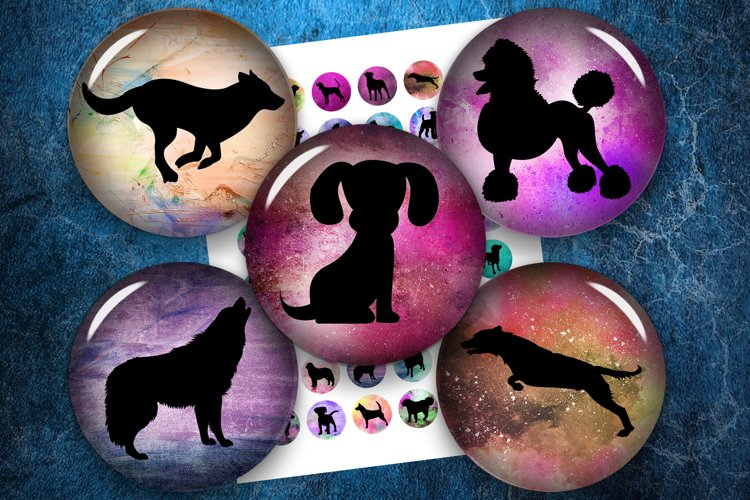 Dog Silhouettes, Digital Collage Sheet, Printable Circles example image 1