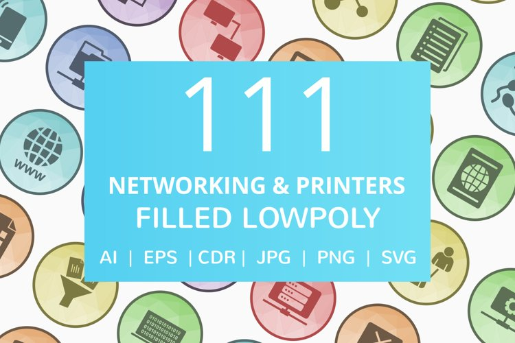 111 Networking & Printers Filled Low Poly Icons example image 1