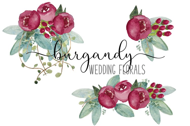Fall Burgundy Wedding Flower Watercolor CLIP ART