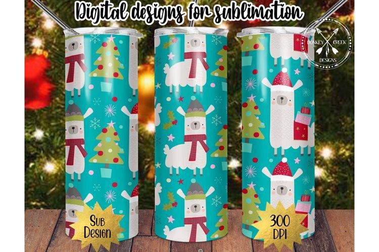 20 oz Skinny Christmas Llamas Sublimation PNG Template example image 1