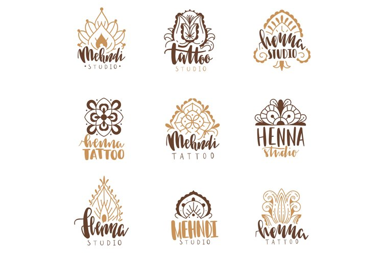 Mehndi beauty salon emblems. Mandala henna tattoo studio, in example image 1