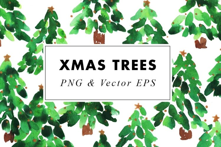 Watercolor Christmas Trees Illustrations Clip Art in EPS example image 1