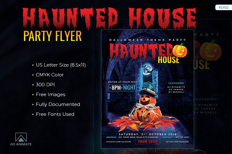Haunted House Party Flyer template for Halloween example image 1
