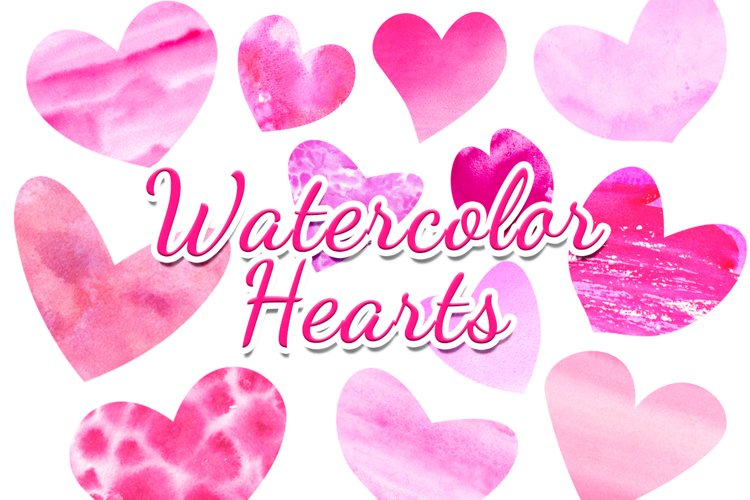 Pink purple watercolor hearts clipart Valentines day