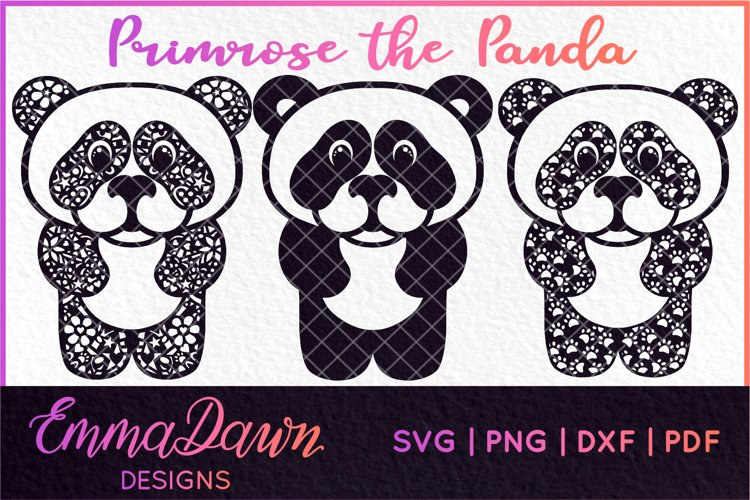 PRIMROSE THE PANDA SVG MANDALA / ZENTANGLE 3 DESIGNS example image 1