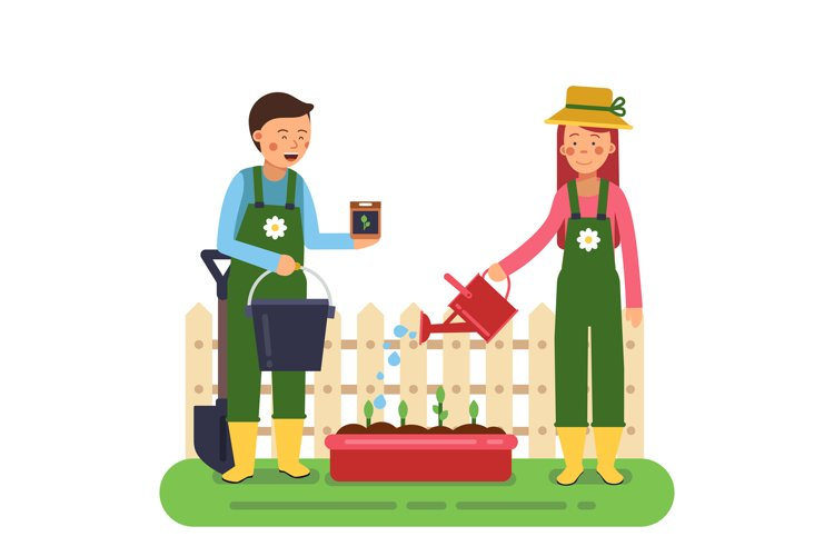 Woman and man working in garden. Different tools for farming example image 1