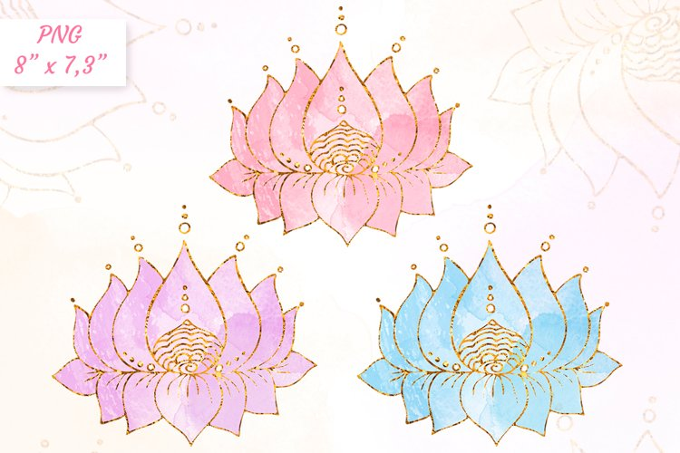 Lotus clipart Yoga meditation clip art Gold with watercolor example image 1