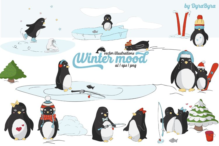 Penguins Vector Illustrations example image 1
