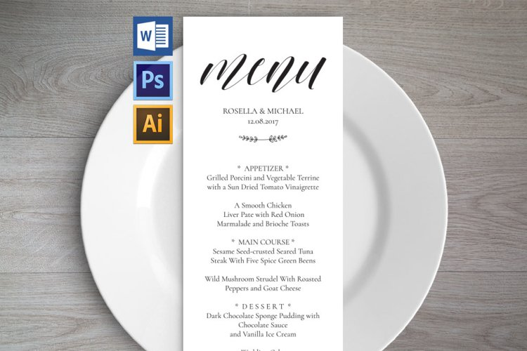Wedding Menu Template example image 1