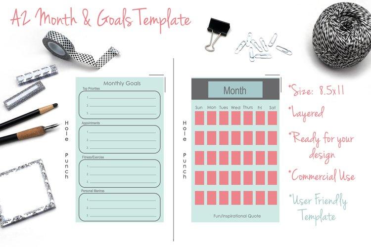 DIY A2 Month & Goals Template - PSD/TIF - Printable example image 1