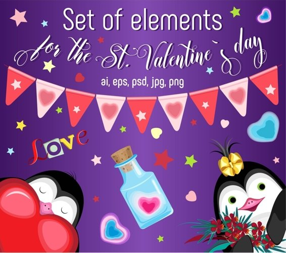 Set of elements for the st. Valentine`s day