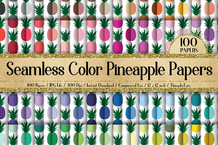100 Seamless Color Pineapple Tropical Fruit Summer Papers