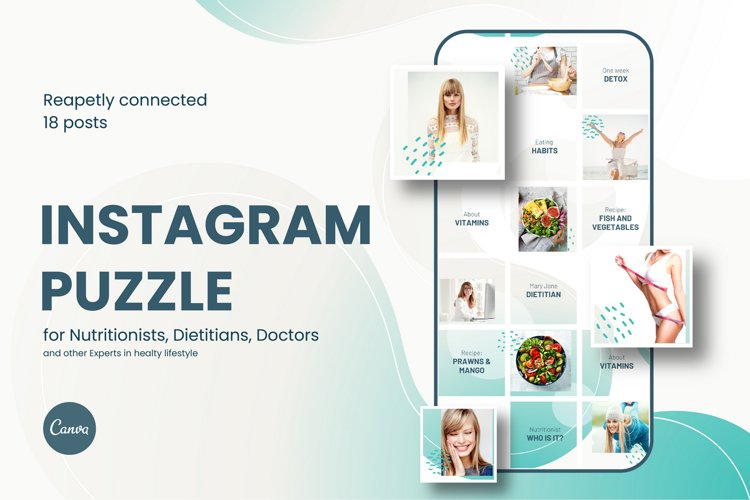 Canva Instagram puzzle feed template