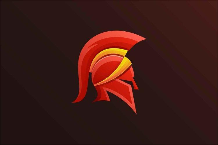 Spartan head logo design illustration example image 1