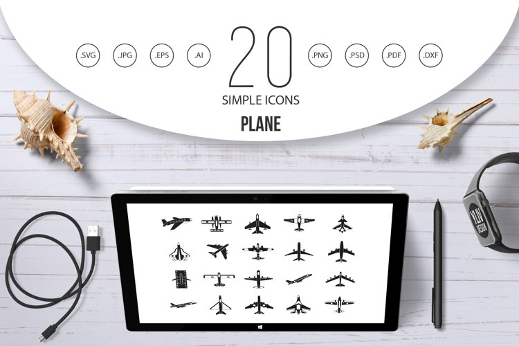 Plane icon set, simple style example image 1
